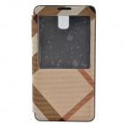 Irregular Texture PU Leather Case cover w/ Visual Window for Samsung Galaxy Note 3 N9000 - Brown