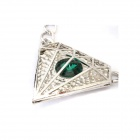Fashionable Dominate Triangle Style Zinc Alloy + Rhinestone Women's Necklace - Silver + Green