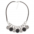 Fashionable Rhinestone Decoration Women's Necklace - Black + Silver