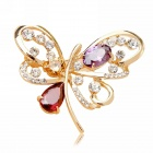 EQute XPEW14C4 Vintage Butterfly Rhinestones Brooch - Golden