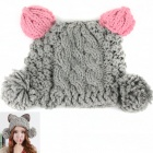 Cat Style Women's Knitting Hat - Pink + Grey