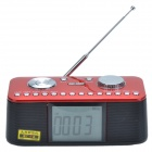 SAST AY-V12 MP3 Card Speaker / 2.7'' Desktop Large Screen Digital Clock / Music Player - Red + Black