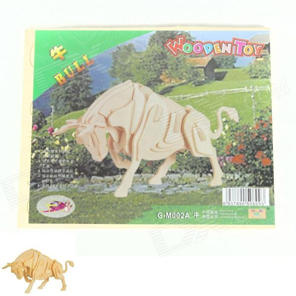 Wooden Assembling  Cow Model - Burlywood