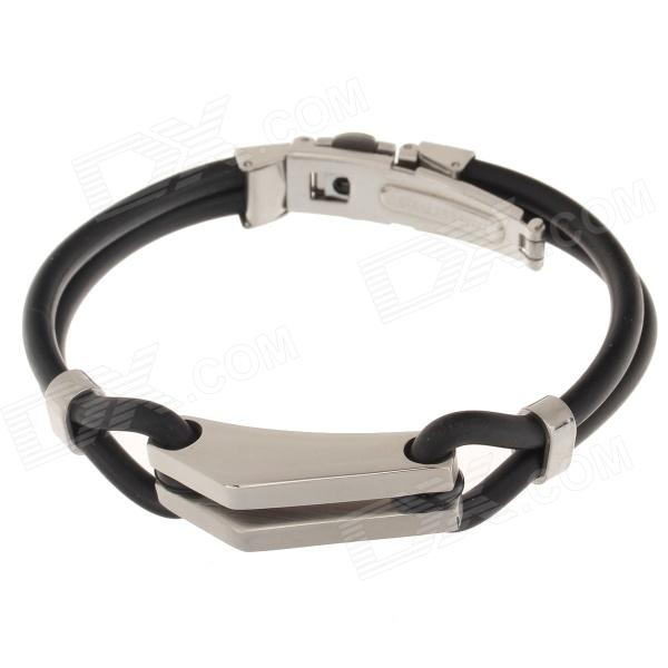 Decompression Anion Silicone Non-Allergy Bracelet - Silver + Black common mental disorders in long term sickness absence