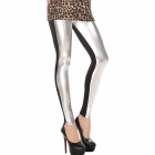 Fashionable High Waist Metallic Leather Seamed Legging for Women - Silver + Black (Size-M)