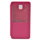Protective PU Leather + Plastic Back Cover w/ Visual Window for Samsung Galaxy Note 3 - Deep Pink