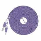 Flat Micro USB Male to USB 2.0 Male Data Sync / Charging Cable for Samsung + More - Purple (300cm)