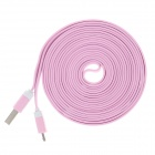 Flat Micro USB Male to USB 2.0 Male Data Sync / Charging Cable for Samsung + More - Pink (300cm)