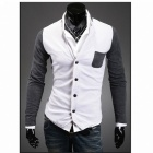 Stylish Men's Slim Fit Single-breasted Knitted Cardigan - White + Deep Grey (Size-L)
