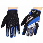 ROSWHEEL 42531 Motorcycle Riding Full-Finger Gloves - Black + Blue (Size-L / Pair)