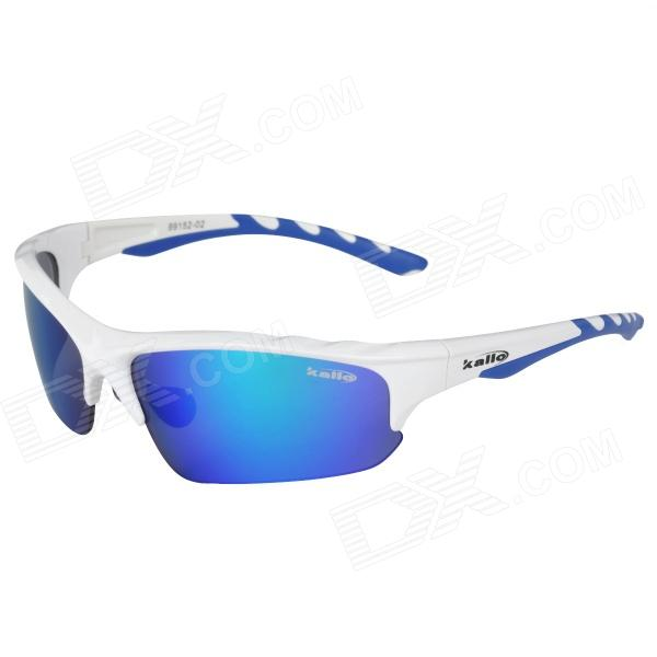 KALLO 99152 Outdoor Sports UV400 Protection TR90 Frames PC Lens Sunglasses - White + Blue