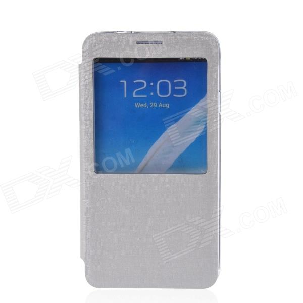 TEMEI Protective PU Leather + TPU Case Stand w/ Visual Window for Samsung Galaxy Note 3 - White temei protective pu leather tpu case stand w visual window for samsung galaxy note 3 white