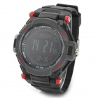 Spovan Mingo-II-R-B Sport Digital Quartz Wrist Watch w/ Barometer Altimeter + More - Black + Red