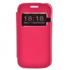 TEMEI Protective PU Leather + Plastic Case Stand w/ Visual Window for Samsung Galaxy Ace 3 - Red