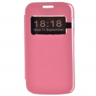 TEMEI Protective PU Leather + Plastic Case Stand w/ Visual Window for Samsung Galaxy Ace 3 - Pink