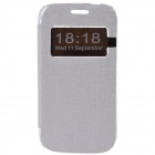 TEMEI Protective PU Leather + Plastic Case Stand w/ Visual Window for Samsung Galaxy Ace 3 - White