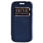 TEMEI PU Leather + Plastic Case Stand w/ Visual Window for Samsung Galaxy Ace 3 S7272 - Deep Blue