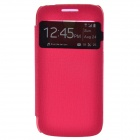 Protective PU Leather + Plastic Case Cover w/ Visual Window for Samsung Galaxy S4 Mini i9190 - Red