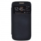 Protective PU Leather + Plastic Case Cover w/ Visual Window for Samsung Galaxy S4 Mini i9190 - Black
