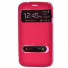 TEMEI PU Leather Case w/ Visual Window / Slide to Unlock for Samsung Galaxy Grand Duos i9082 - Red
