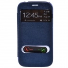 TEMEI PU Leather Case w/ Visual Window / Slide to Unlock for Samsung Galaxy Grand Duos - Deep Blue