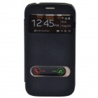 TEMEI PU Leather Case w/ Visual Window / Slide to Unlock for Samsung Galaxy Grand Duos i9082 - Black