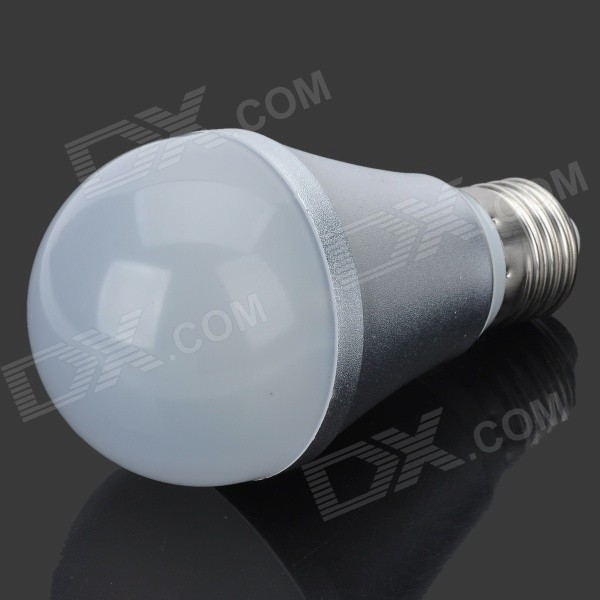E27 4.5W 430lm 6500K 10-5630 SMD LED White Light Bulb - Silver (AC 85~265V) - DXE27<br>Color Silver Color BIN White Brand HUGEWIN Model Ziri Material Aluminum + PC Quantity 1 Piece Power Others4.5W Rated Voltage AC 85-265 V Connector Type E27 Chip Brand Epistar Emitter Type Others5630 SMD LED Total Emitters 10 Theoretical Lumens 410~450 lumens Actual Lumens 380~430 lumens Color Temperature Others5500~6500 Dimmable no Beam Angle 120~180 ° Certification CE RoHS CCC Packing List 1 x Bulb<br>
