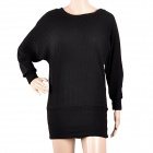 JM331 Fashion Women's Batwing Sleeves Cotton Fibrer Dress - Black (Free Size)