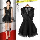 Fashionable Women's V-Neck See-Through Short Voile Dress - Black