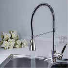 Single Handle Brass Spring Pull Down Kitchen Faucet - Chrome Finish