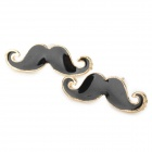 Mustache Style Gold Plated Alloy Earrings - Black + Gold (Pair)