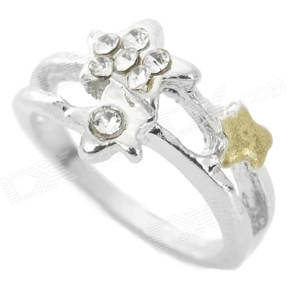 Elegant Five-Pointed Star Style Finger Ring for Women - Silver