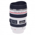 Creative PP+ Stainless Steel Simulation Zoom Lens Thermos Mug Cup w/ Cup Lid - Black + White (400mL)