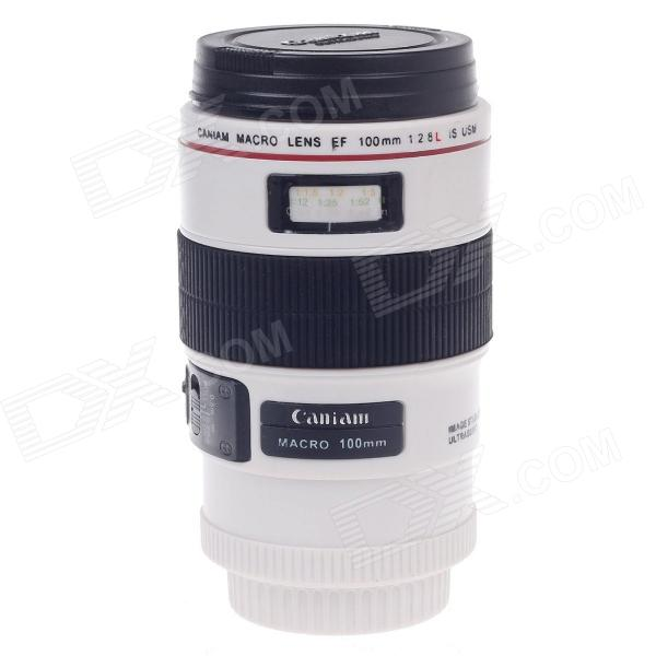 Creative Stainless Steel Simulation Macro Lens Thermos Mug Cup w/ Cup Lid - White + Black (400mL)