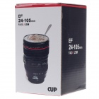 Creative Stainless Steel Simulation Zoom Lens Thermos Mug Cup w/ Cup Lid - Black (450mL)