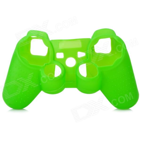 Protective Soft Silicone Case w/ Joystick Cover for PS3 Controller - Green one piece 1x brand new high quality silicon protective skin case cover for xbox 360 remote controller blue green mix color