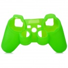 Protective Soft Silicone Case w/ Joystick Cover for PS3 Controller - Green