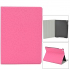 Diamond Pattern Protective PU Leather + Plastic Case for Ipad AIR - Deep Pink