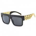 YJ-01 Fashionable PC + Zinc Alloy Frame Resin Lens UV400 Protection Sunglasses - Black + Gold (Pair)