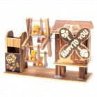 LP1 Bear on Trapeze w/ Wooden House Style Manual Rotating Music Box - Coffee + Yellow