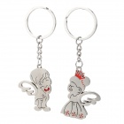 SZW7 Zinc Alloy Prince and Princess Style Lovers' Keychain - Silver + Red