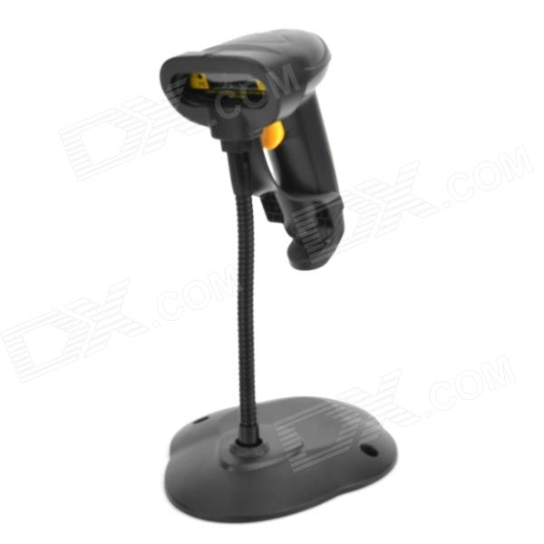 USB Wired Desktop / Handheld Laser Barcode Scanner w/ Stand - Black