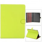 Protective Flip Open PU + Plastic Case w/ Stand for iPad Air - Fluorescent Yellow