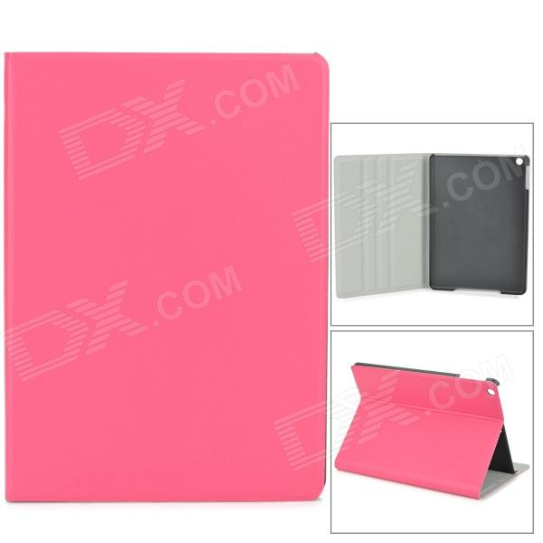 Protective PU Leather + Plastic Case for Ipad AIR - Deep Pink silk style protective pu leather plastic case for ipad air pink