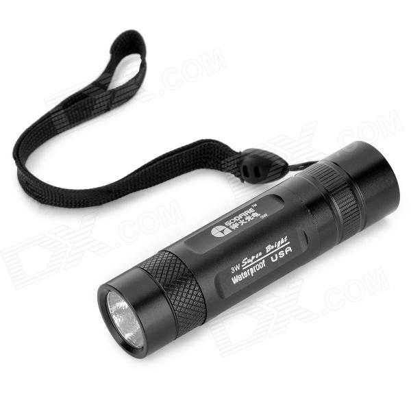 GODFIRE 3W 120lm 1-Mode White Flashlight w/ CREE XR-E Q3 - Black (1 x CR123A / 16340)