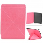Stylish Folding PU Leather + Plastic Case w/ Auto Sleep for Ipad AIR - Deep Pink