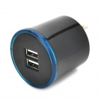 W-723 AC Charging Adapter Charger w/ Dual USB for Cell Phone - Black (2-Flat-Pin Plug)