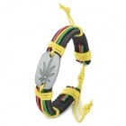 UBE UTY Retro Hemp Leaf Pattern Cow Leather Bracelet - Multicolored