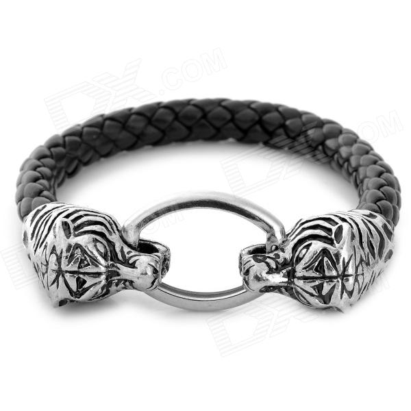 UBE UTY 6025 Double Tiger Head Style Cow Leather Bracelet for Men - Black Grey + Silver ube uty 1001 europestyle english word pattern bracelet for men coffee multicolored