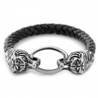 UBE UTY 6025 Double Tiger Head Style Cow Leather Bracelet for Men - Black Grey + Silver